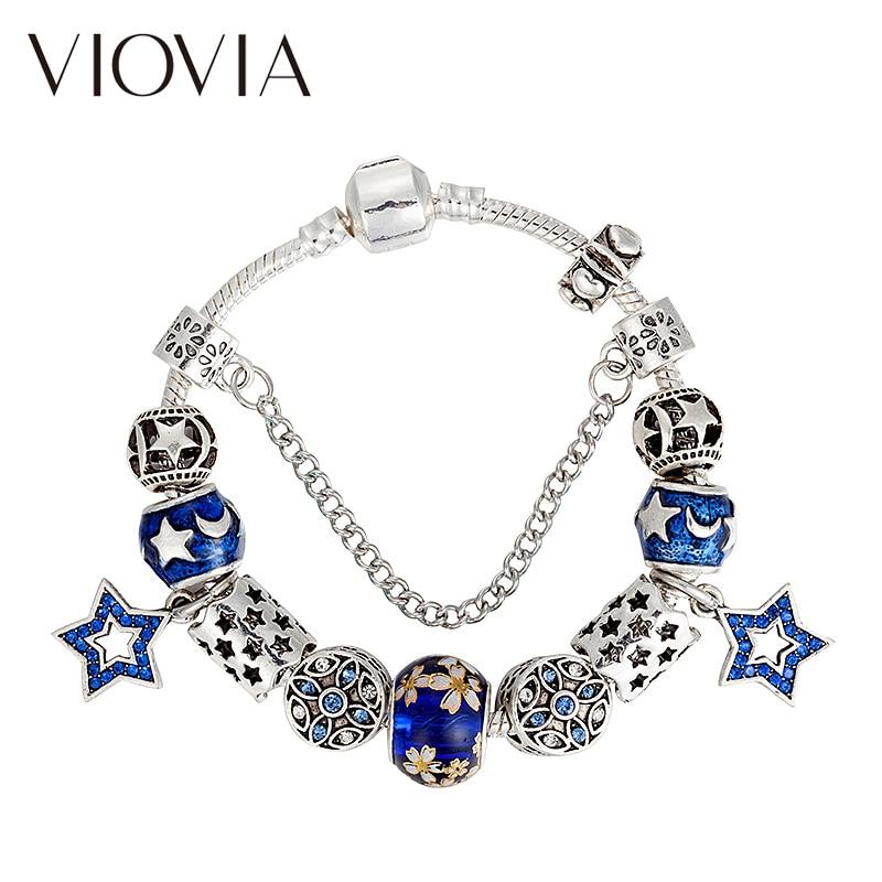 VIOVIA Hot Sale Blue Star Series Beads Charms Bracelets & Bangles Fasgion Bracelets for Women Diy Jewelry  B17123