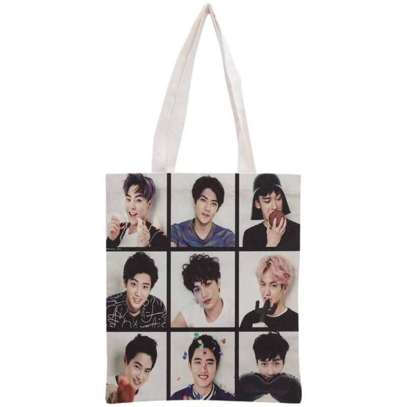 Sac fourre-tout personnalisé EXO sac à main réutilisable femmes épaule pliable coton toile sacs à provisions
