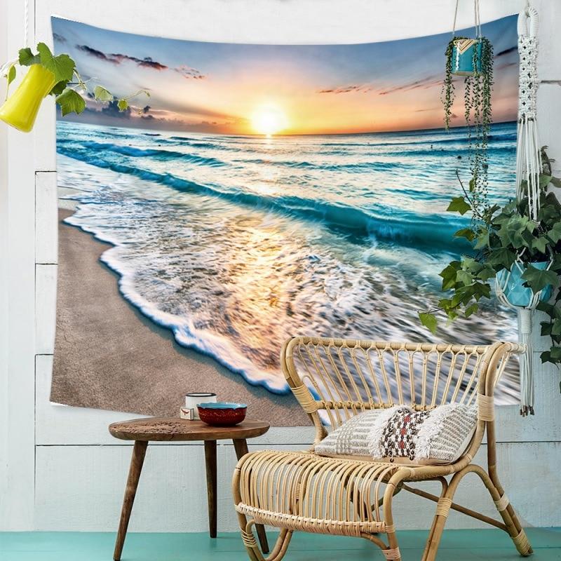 Домашний настенный пляжный коврик для пикника с изображением морской волны, декоративный гобелен, пляжное одеяло для йоги