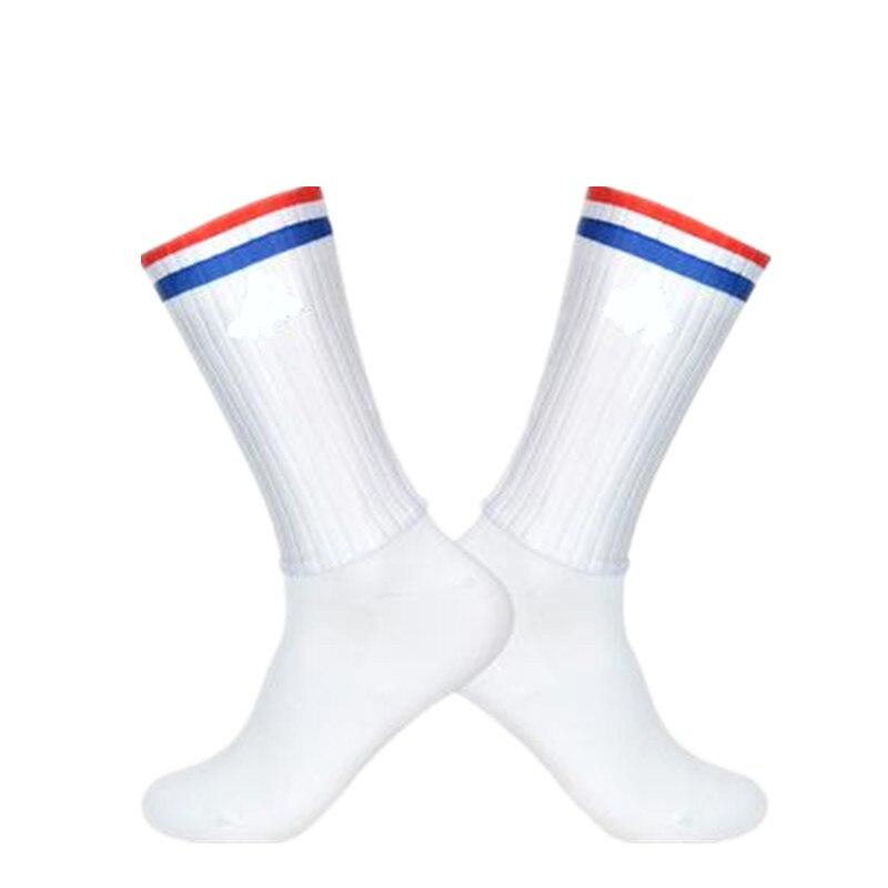 Calcetines antideslizantes sin costuras para ciclismo, calcetines de rayas rojas, blancas y azules, calcetines Ntegral moldura de alta tecnología para bicicleta