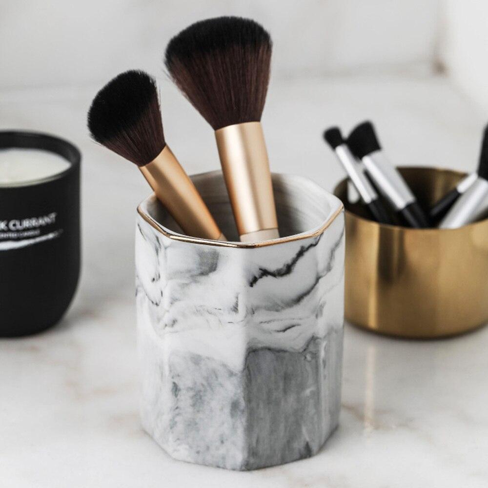 Скандинавские мраморные керамические банки для хранения кистей для макияжа, Европейский косметический инструмент, чашка для хранения, офисное украшение, держатель для ручки