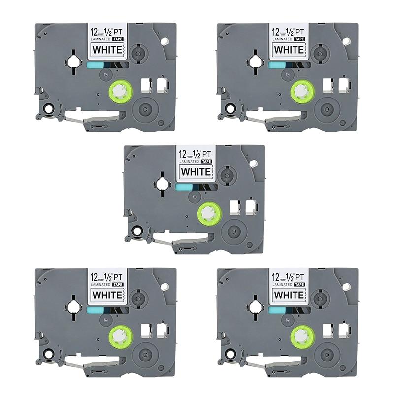 Fita de rótulo laminada 5x preto no branco, 12mm 8m, substituição para brother TZe-231 p-impressora fabricante de toque