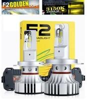 2pcs h4 f2 3000k golden yellow led headlight h7 h8 h9 h11 9005 9006 9012 hb34 hir2 72w 12000lm csp chips foggy snowy rainy 6k