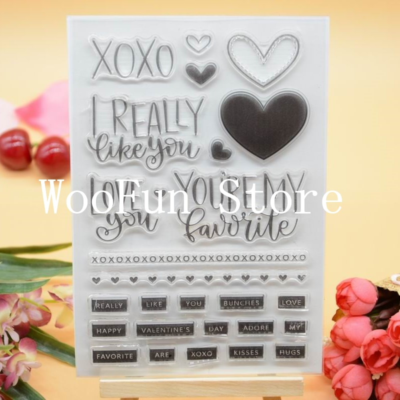 Sello de goma transparente XOXO I really like you para hacer tarjetas de decoración y libro de recortes