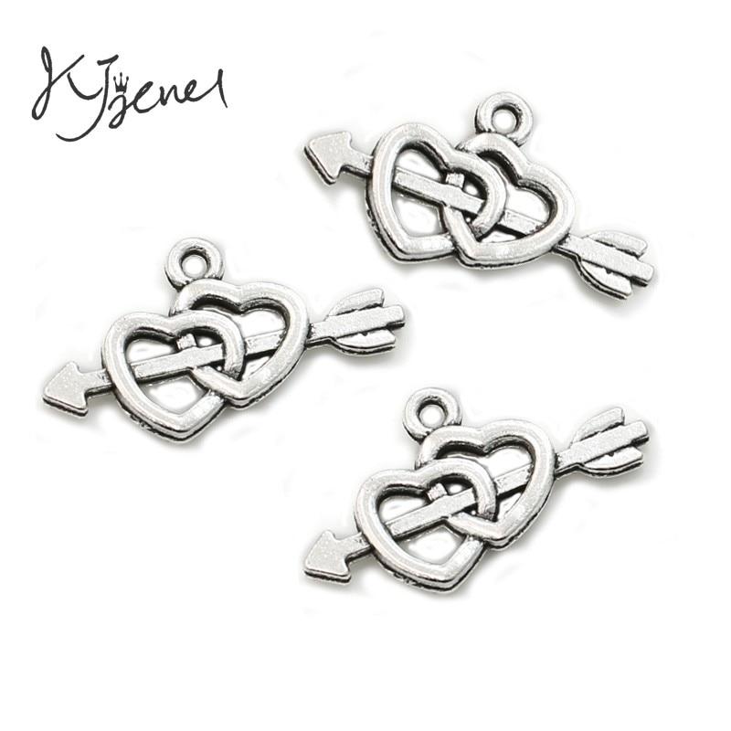 10 unids/lote de pulseras con colgante de doble flecha de corazón chapadas en plata antigua, accesorios para joyería, accesorios para manualidades DIY 23x12mm
