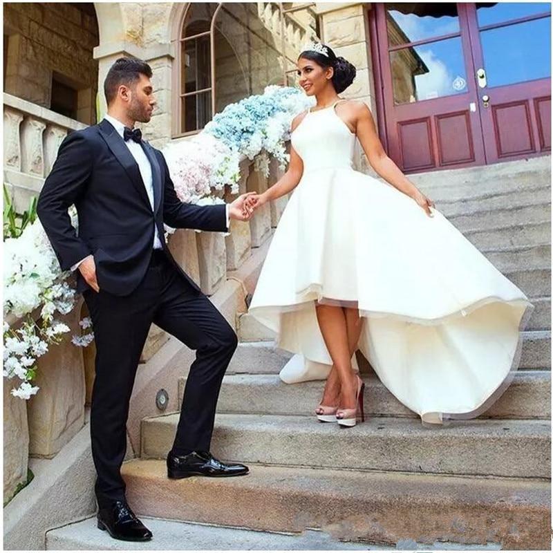 SoDigne Simple Bride Dress 2019 Spring Summer Wedding Dresses Sleeveless Halter Back Zipper Wedding Gowns