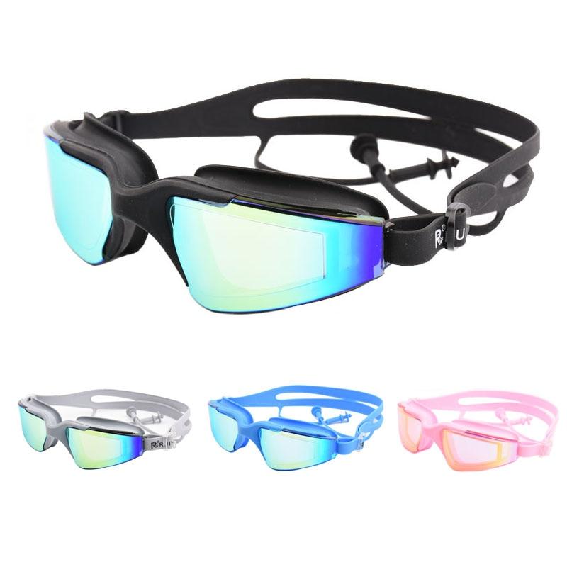 Adult Swimming glasses Large frame earplug Professional Anti-Fog Men Women Pool Water Swim Eyewear Silicone Swimming goggles
