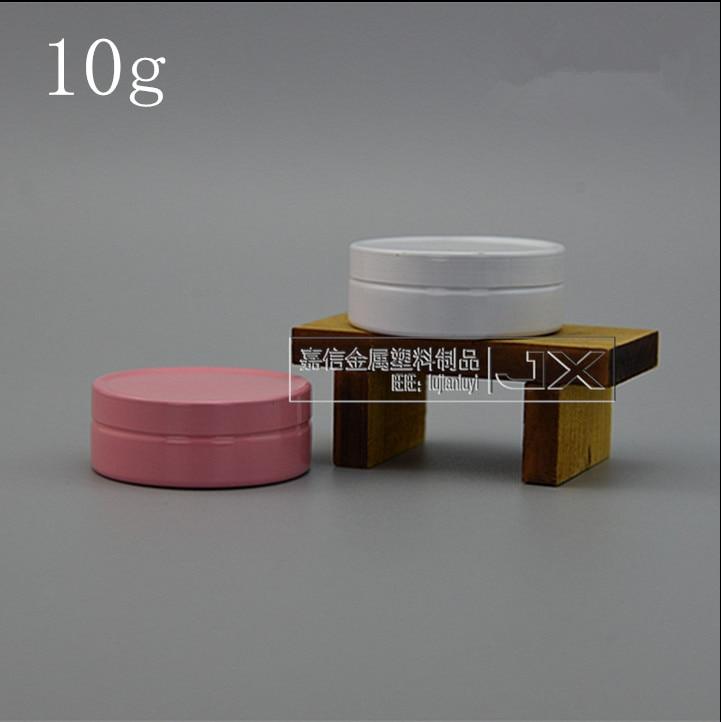 10 جرام الوردي الأبيض كريم الألومنيوم يمكن أحمر الشفاه مرهم علب فارغة منتج جديد البنك شقة زجاجة صغيرة 100 قطعة