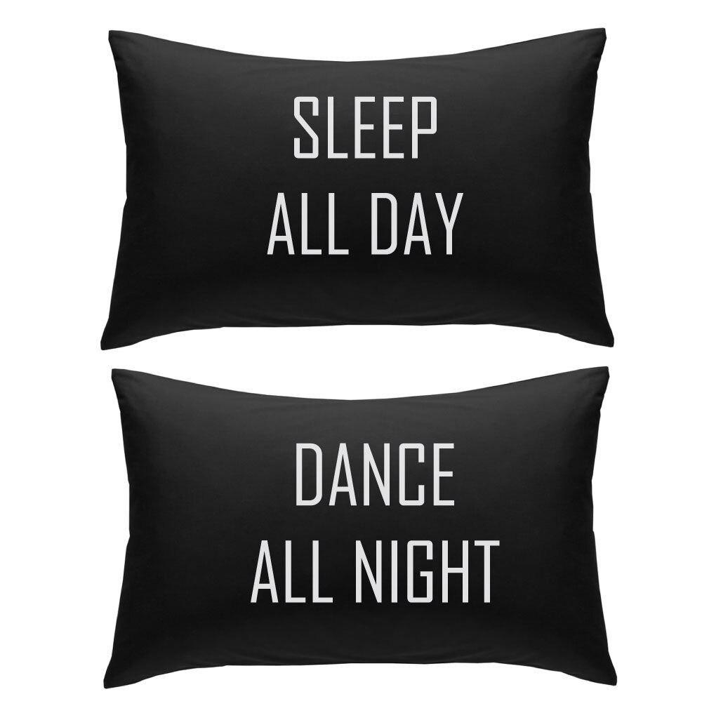 غطاء وسادة ، غطاء وسادة ، رسالة سوداء ، شخصية ، للرقص طوال اليوم ، 20 × 30 بوصة