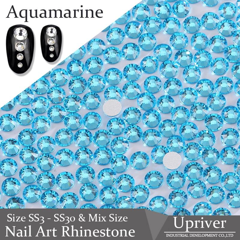 Arriba ss3-ss30 y tamaño mixto aguamarina Flatback no Hotfix diamantes de imitación brillantes sueltos arte en las uñas con piedras de imitación para uñas DIY