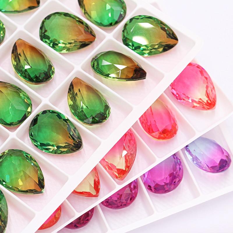Astrobox Phantasie Teardrop Kristall Strass Applique Glas Kristall Stein Stickerei Kleidung Zubehör Steine Für DIY Hochzeit Dr