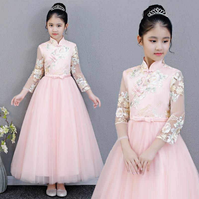 Kids Embroidery Flowers  Wedding Fluffy Mesh Dress Children Host Evening Party Princess Girl Guzheng Costume Long Sleeves Dress