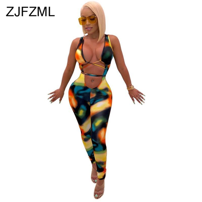 Laço corante impressão sexy bodycon macacão feminino decote em v profundo sem mangas magro macacão verão cintura banda cortar sem costas festa catsuit
