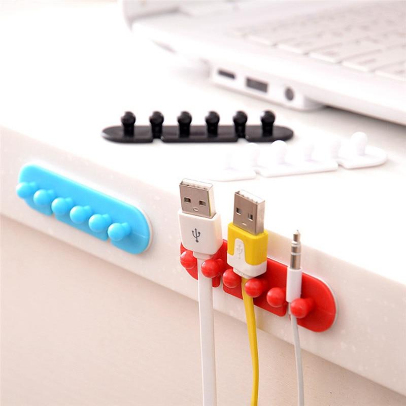 2 unids/lote Clip de cable sujetacables fijador de corbata organizador pinza adhesiva gancho de pared drop shipping