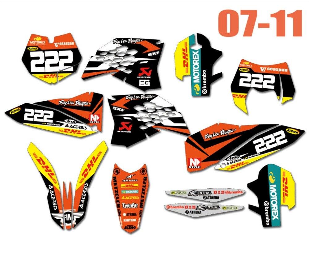 Bicicleta Motocorss calcomanía pegatinas gráficos para KTM EXC XCF 125, 250, 300, 450, 530, 2008-2011