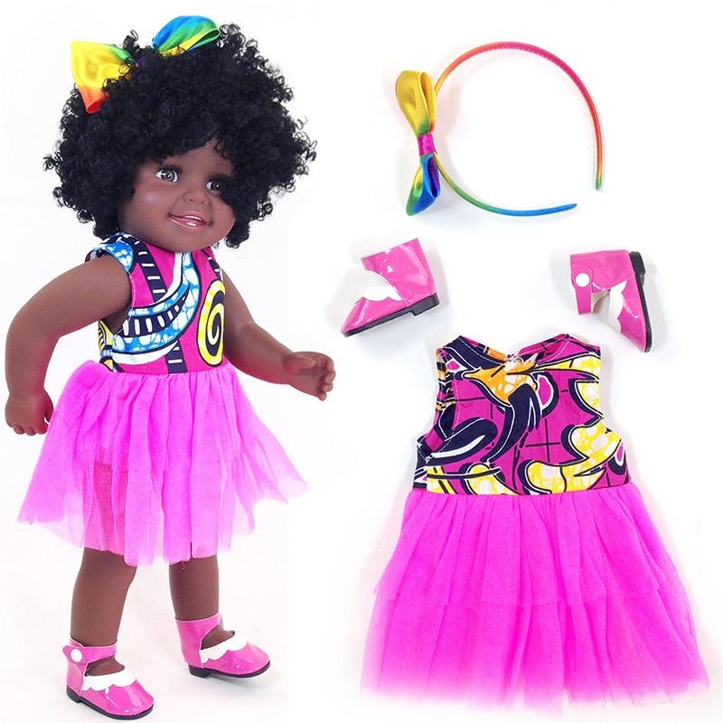 Muñeca negra reborn de niña africana americana 45 cm boneca corpo entero de silicona vinilo reborn baby dolls pop child regalo de Juguetes