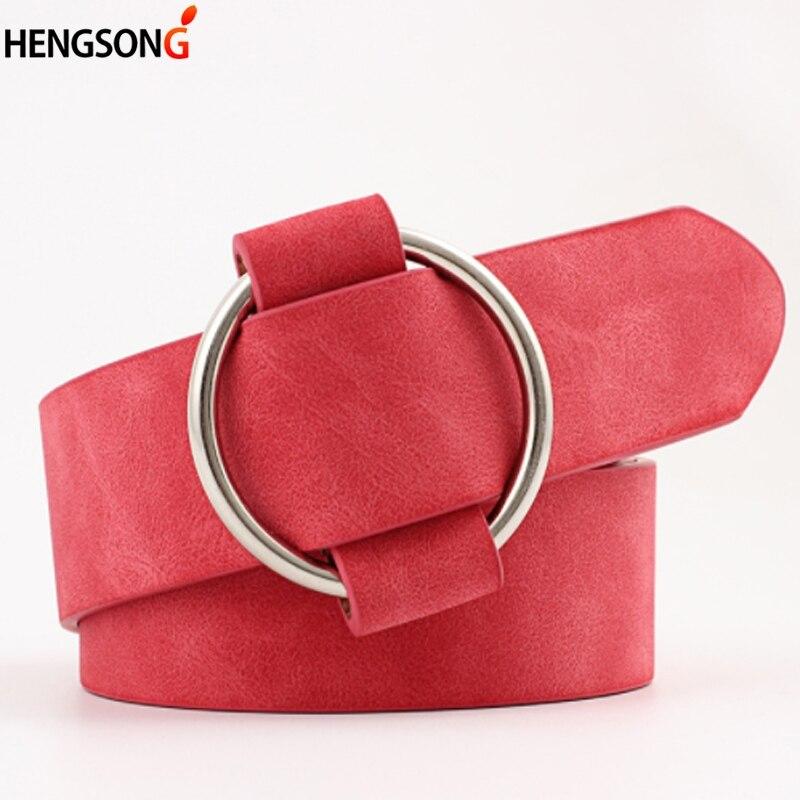 New luxury brand Sexy Casual Female Round buckle wide belts women dress jeans belt woman ladies faux leather straps pasek damski