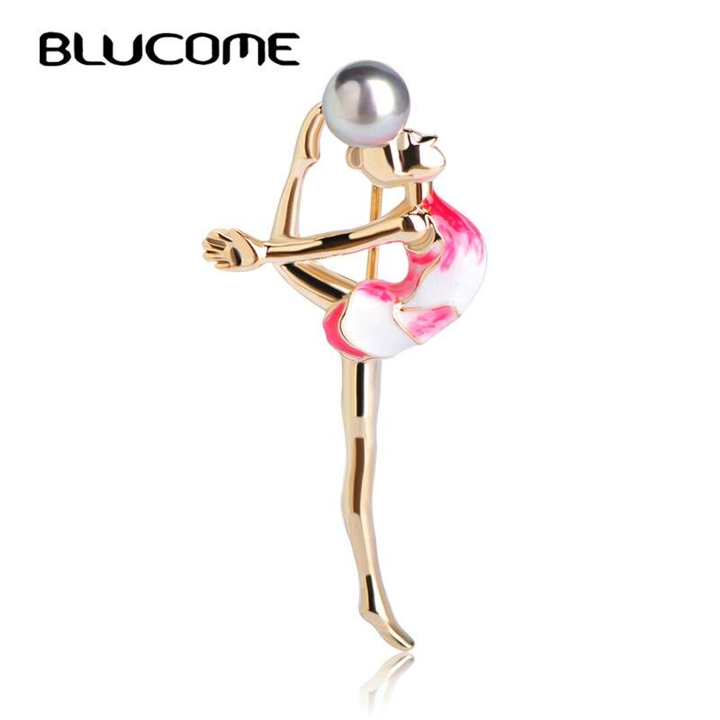 Blucome moda de gimnasia deportiva broche para chicas, accesorios para ropa, broches de perlas de esmalte metálico de color dorado con broche de joyería