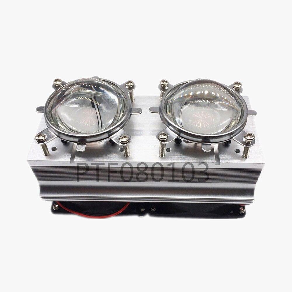 100 W 200 W عالية الطاقة أنبوب تدفِئة led التبريد مع المشجعين 44 مللي متر عدسة 60/80/90/120 درجة + العاكس قوس