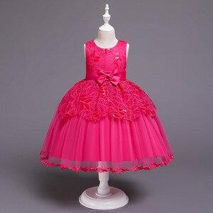 Flower Kids Dresses for Girls Wedding Formal Occasion Hot Pink White Children Birthday Party Wear Tulle Little Girl Dress