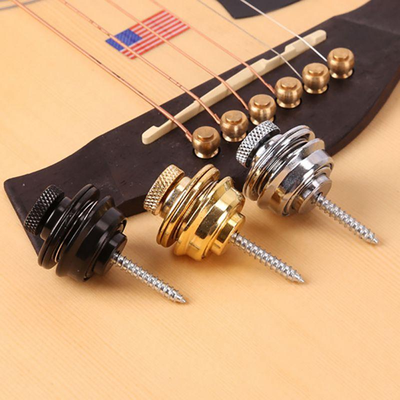Correa de guitarra de bloqueo fácil quitar chapado en cromo botón straplock PARA TODOS eléctrica acústica correa de bajo eléctrico, tornillo 3 colores