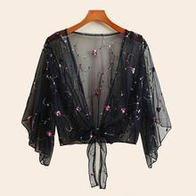 Long Sleeve Embroidery Flower Mesh See Through Shirt Women Tee Tops Ladies Cardigan Kimonos Blouse Women Tops Outerwear