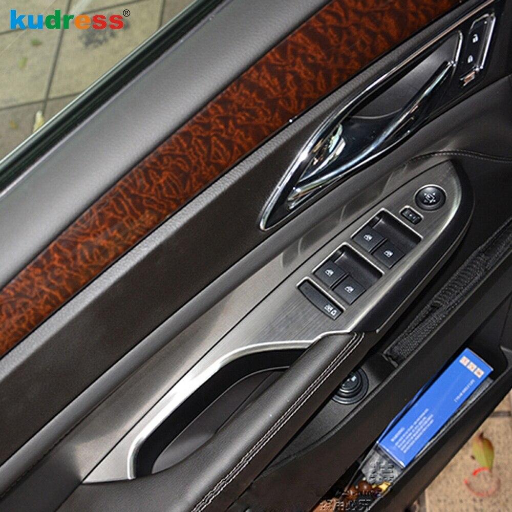 Para Cadillac SRX 2010 2011 2012 2013 puerta interior de acero inoxidable apoyabrazos ventana botón de elevación cubierta de Control embellecedor mano izquierda conductor