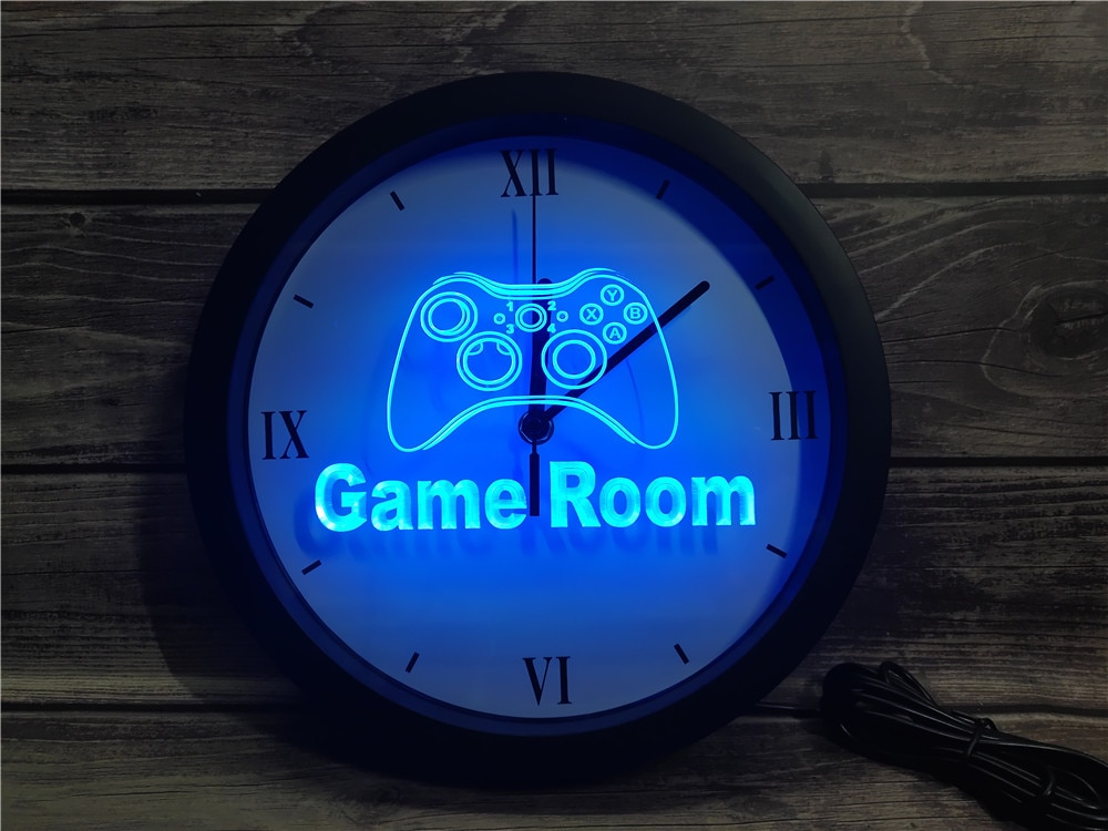 0k984 game room console app rgb 5050 led sinais de luz néon relógio parede