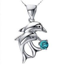 Tendance et classique amour Forever Double motif dauphin femme pendentif 2.5*1.8cm collier 45 cm-couleur bleu blanc violet rose