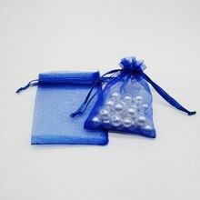100 piezas bolsas de Organza azul de regalo de Organza de regalo bolsas de embalaje de la joyería de la boda de Navidad Almacenamiento de joyería bolsa con cordón