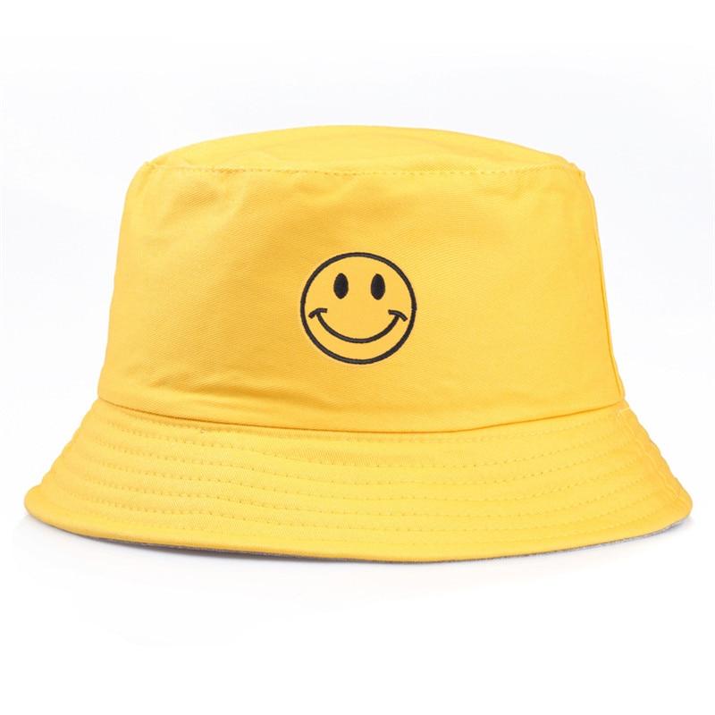 1 шт. Повседневная вышитая желтая шляпа со смайликом в рыбацком стиле для женщин и мужчин, модные простые уличные шляпы с козырьком для друзей H18