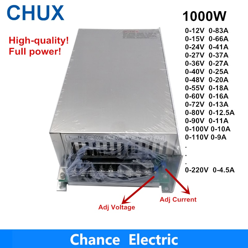 0-12V 15V 24V 36V 48V 55V 60V 72V 80V 90V 100V 110V Adjustable 1000W Switching Power Supply For Led 110/220V Ac To Dc Smps