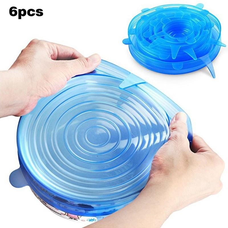 Шт. 6 шт. силиконовый чехол для еды чаша крышка креативный стрейч универсальной
