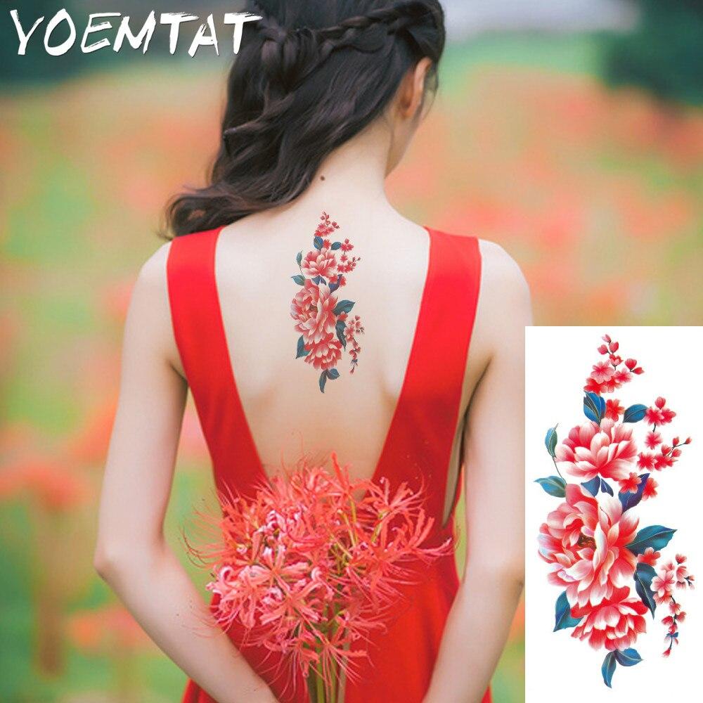 Red acacia flowers arm shoulder tattoo stickers flash henna fake waterproof temporary tattoos sticker women on body