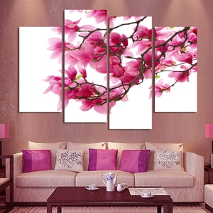 4 Panels HD Flowers Canvas Painting Wall Pictures For Living Room Canvas Print Cuadros Decoracion Giveaways wall sticker H078