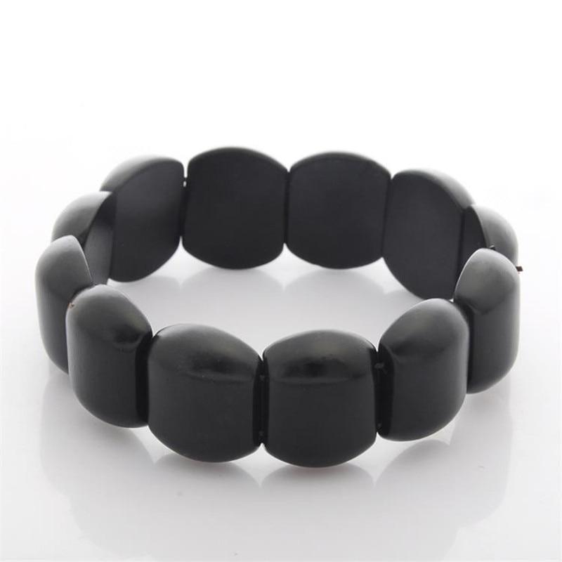 Natural Black Bianshi Banichi Stone Bracelet Carve Geometry Black banichi Gift For Men Women Massage bracelet Stone jewelry