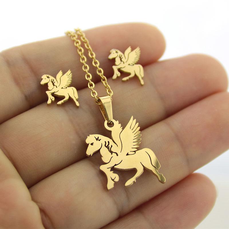 1 Set Gold Farbe Edelstahl Winkel Pferd Schmuck Sets Charms Tier Ohrringe Halskette Frauen Mädchen Kinder Weihnachten Geschenk