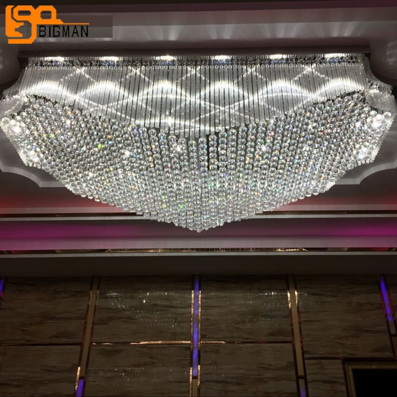 تصميم فاخر فندق اللوبي كبير الثريات البلورية/ النجف الكريستالي مصباح LED للسقف AC110V 220 فولت Lustres مشروع إضاءة داخلية