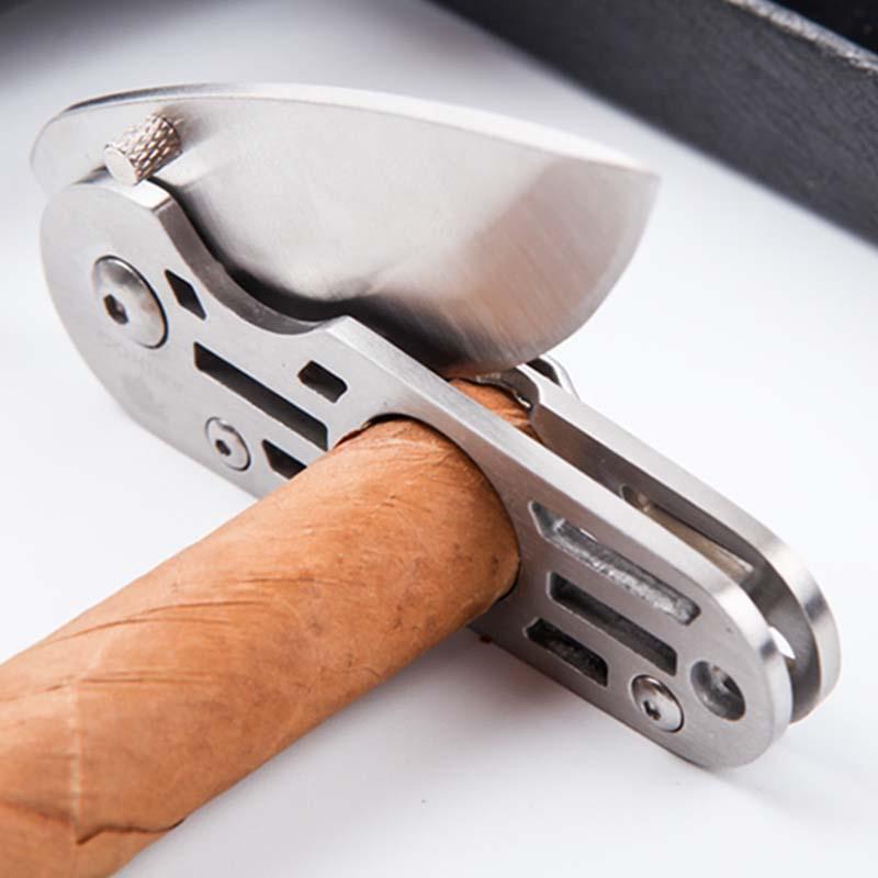 Аксессуары для сигар из нержавеющей стали резак для сигар портативные ножницы для сигар с ремешком Пряжка Прочный Мини дорожный нож для табака