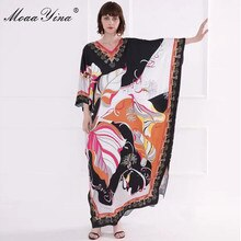 Moaayina moda designer runway vestido primavera verão vestido feminino com decote em v batwing manga imprimir solto vestidos maxi