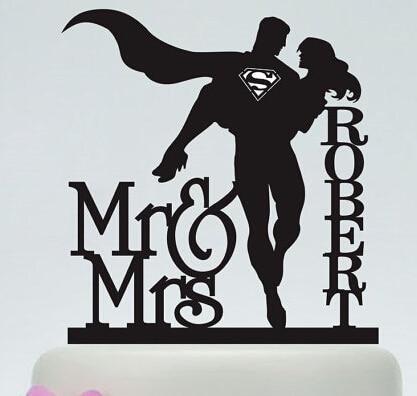 Decoración de la parte superior del pastel de boda de acrílico fresco superman parejas personalizado novia novio nombre y fecha compromiso nupcial ducha fiesta decoraciones