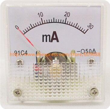 91C4 точность постоянного тока Панель Амперметр 91C4-MA класс 45*45 20mA 30mA 50mA 100mA 200mA 500mA