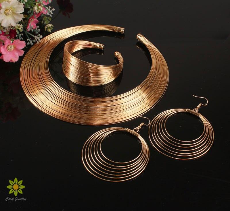 Punky estilo hueco trenza oro/Color plata multicapa collar amplio brazalete pendientes Set
