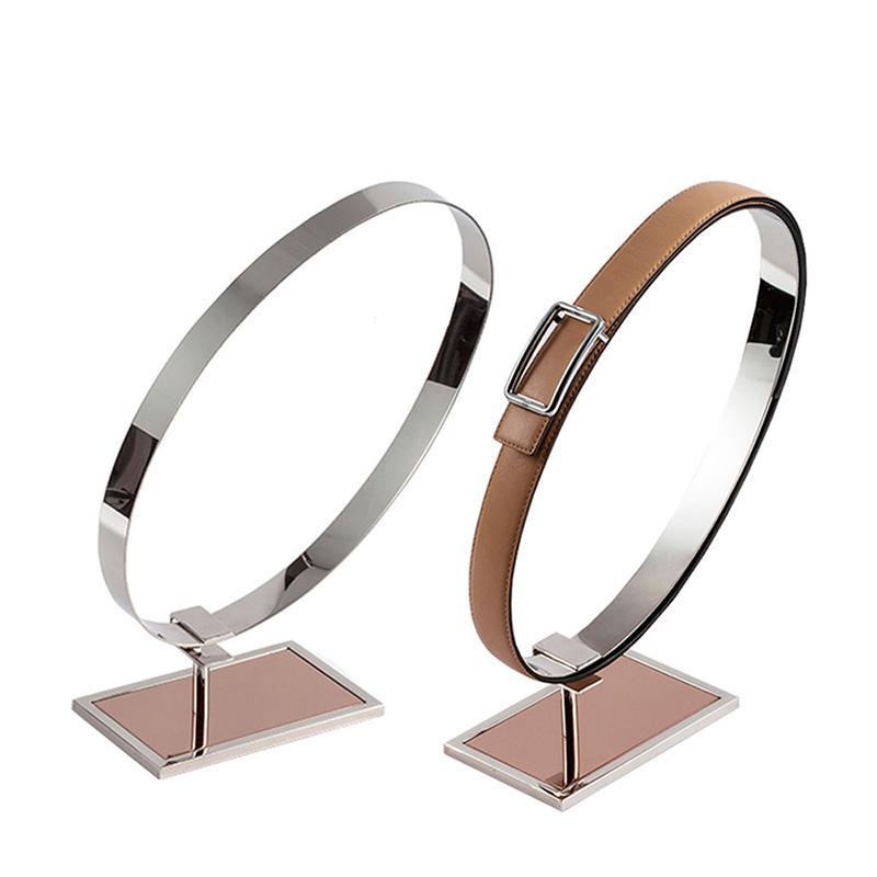 Mirror Top Grade Belt Display Rack Stainless Steel Single Double Rings Window Display Props Cabinet Belt Storage Bracket Stand