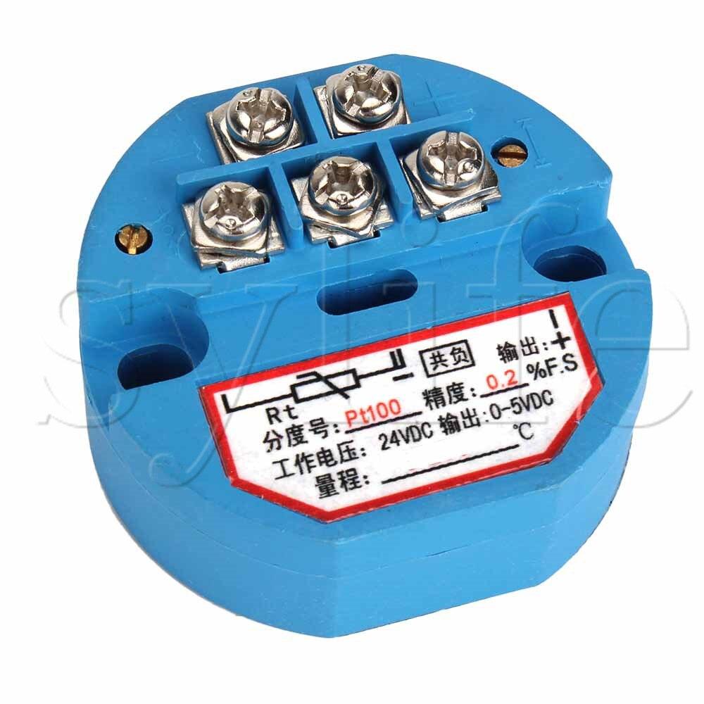 Transmisor Sensor de temperatura PT100 0-500 grados Celsius Salida 0-5V 24VDC