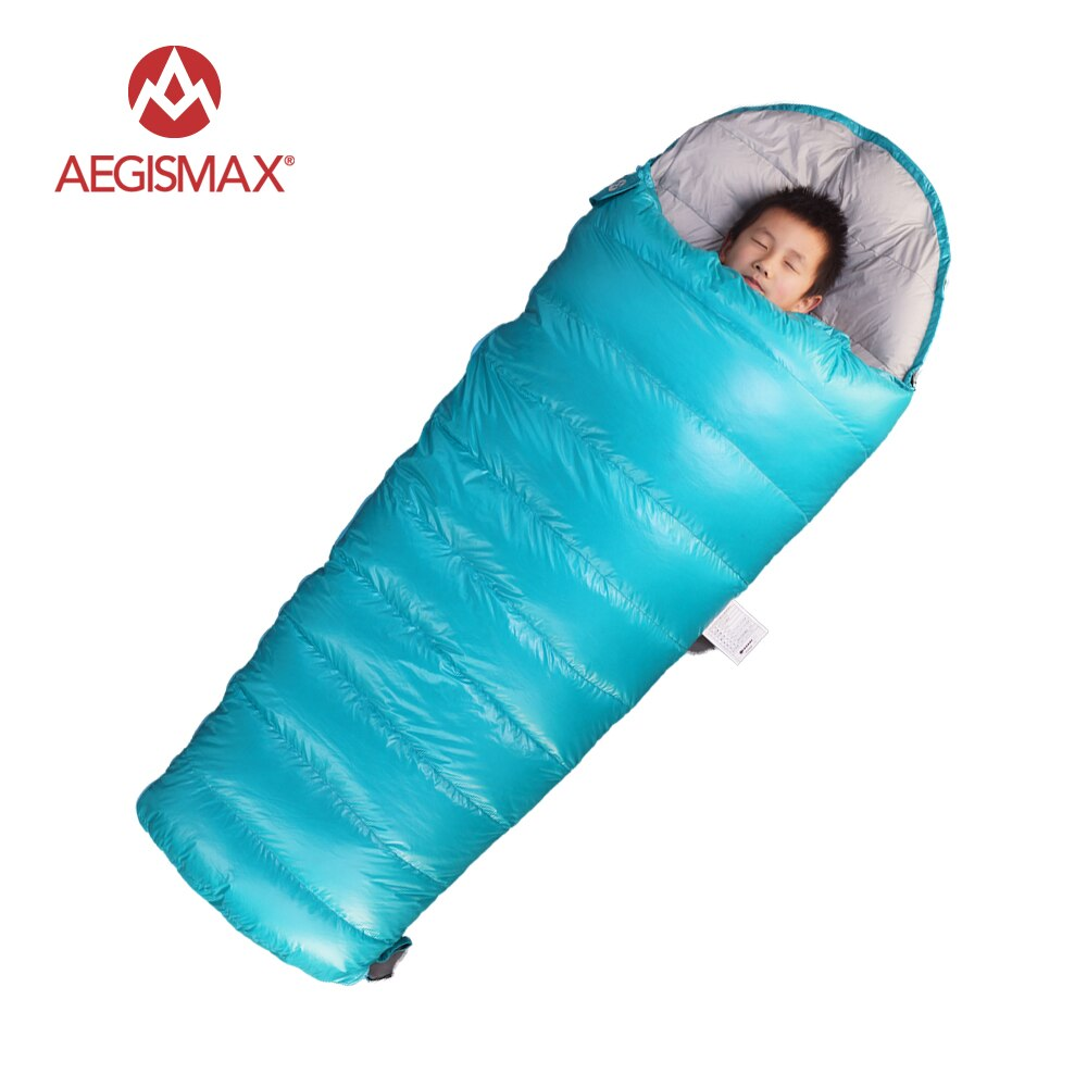 AEGISMAX Children Envelope 95% Sleeping bags White Goose Down for Kids Camping Blue Pink
