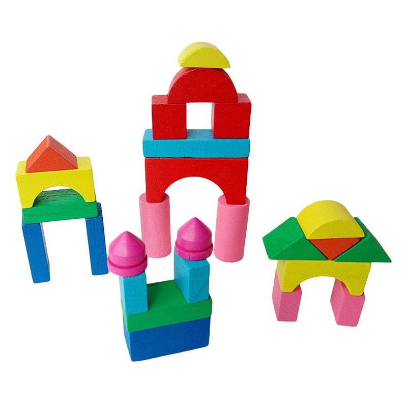 26-50 teile/satz Kid Holz Mini Schloss Gebäude Ziegel Blöcke Geometrische Form Pädagogisches Spielzeug Montiert Spiel Umwelt Freundliche