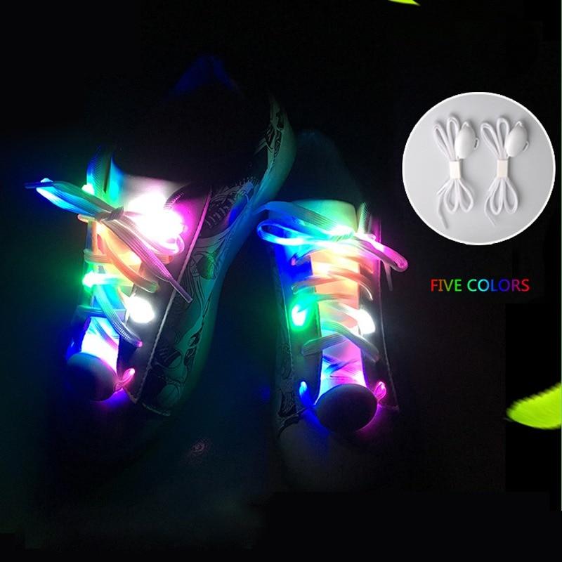 2pcs LED Shoelaces colorful Party Skating Charming LED Flash Light Up Glow Shoelaces Shoe Laces Shoestrings Sneaker Accessories