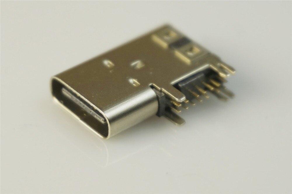 5 шт. USB 3,1 Тип C разъем 14 контактный разъем гнездо через отверстия PCB флаг тип угол 90 градусов щит 3A 100 в