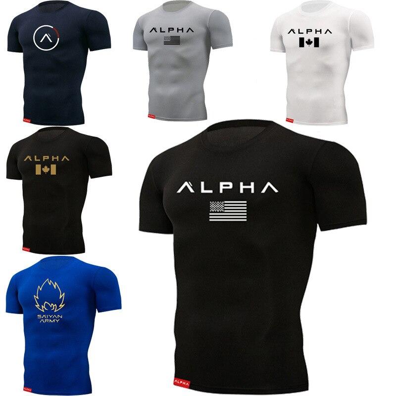 2019 cuello redondo hombres fitness close camiseta hombres marca gimnasios camiseta Fitness culturismo delgado de algodón de manga corta